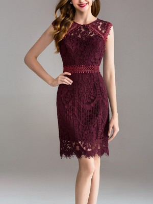 Wine Red Embroidered Lace Midi Dress With Eyelash