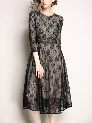 Black Guipure Lace Midi Dress With Cropped Sleeve