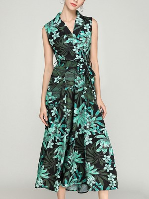Green Wrap V-neck Printed Sleeveless Maxi Dress