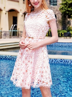 Pink Cutwork Lace Mini Dress With Belted Waist