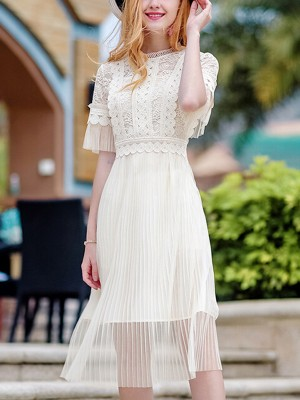 Beige Cutwork Lace Midi Dress With Pleated Skirt