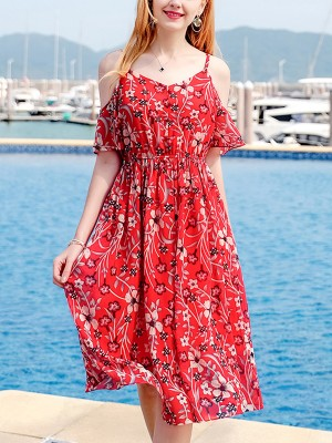 Red Cold Shoulder Printed Chiffon Midi Dress