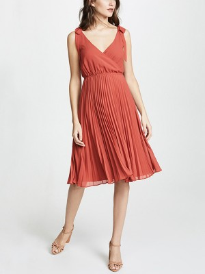 Brick Red Bow Detail Pleated Midi Dress