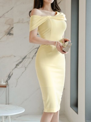 One Shoulder Zipper Bodycon Work Solid Midi Dress