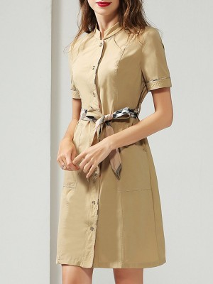 Solid Stand Collar Daily Short Sleeve Daily Sheath Midi Dress