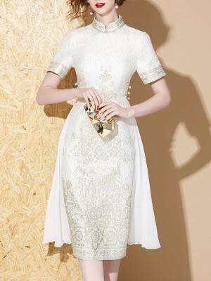 Stand Collar White Sheath Party Paneled Solid Midi Dress