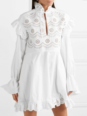Keyhole White Eyelet Sexy Mini Dress