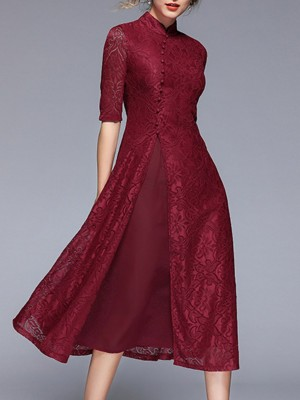 Stand Collar Elegant Lace Tiered A-Line Daily Solid Midi Dress