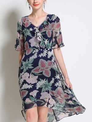 V Neck Ruffled Bell Sleeve Holiday High Low Floral Midi Dress