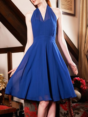 Cross Front Dark Blue Backless Sleeveless Party Solid Midi Dress