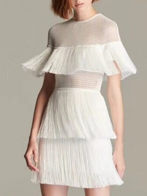 White A-Line Party Fringed Solid Mini Dress