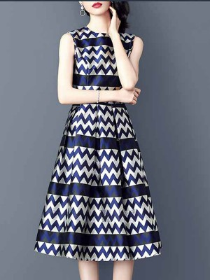 A-Line Date Casual Zigzag Printed Midi Dress