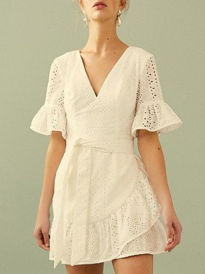 V Neck A-Line Lace Daytime Eyelet Backless Mini Dress
