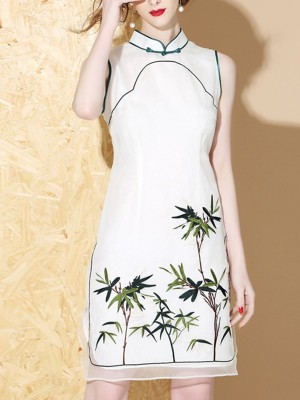 Stand Collar White Sheath Date Silk Embroidered Midi Dress