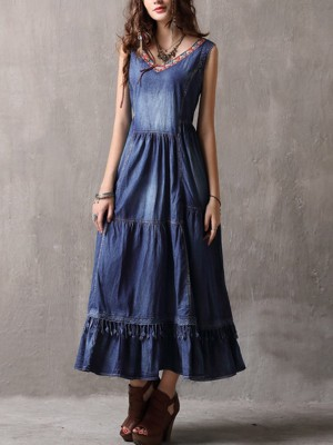 Embroidered Denim A-Line Daily Fringed Maxi Big Hem Dress