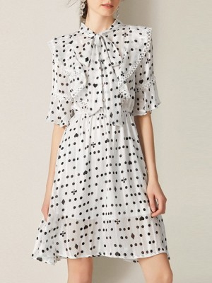Tie-Neck Ruffled Printed A-Line Daily Mini Dress