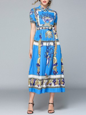 Shirt Collar Sky Blue Abstract A-Line Daily Paneled Midi Dress
