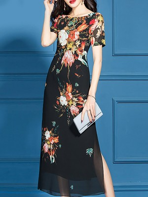 Bateau/boat Neck Black Elegant Floral Party Printed Midi Dress