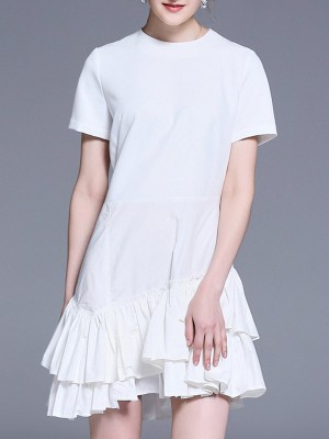 A-Line Daily Solid Mini Dress