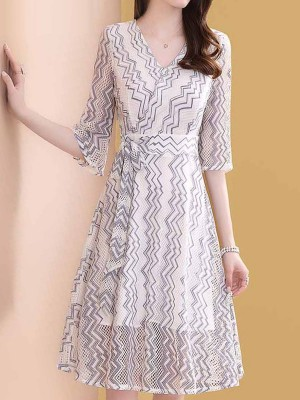 V Neck White A-Line Daily Zigzag Printed Midi Dress
