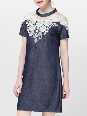 Stand Collar Navy Blue Shift Crocheted Paneled Midi Dress