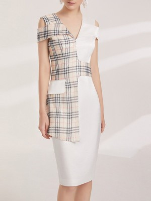 V Neck White Elegant Sheath Party Checkered/plaid Midi Dress