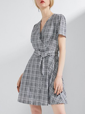 V Neck Gray A-Line Daily Elegant Wrap Mini Dress