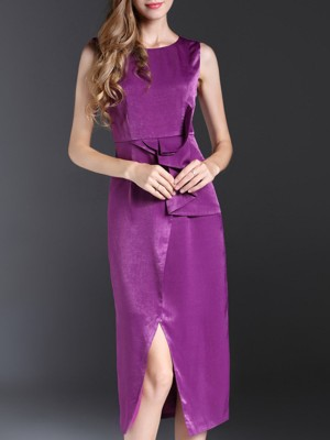 Purple Sheath Sleeveless Cocktail Midi Paneled Dresses