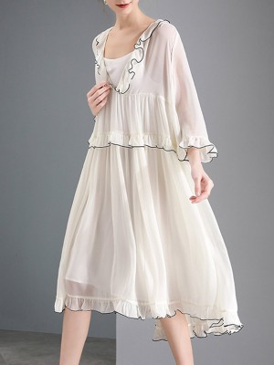 V Neck White Frill Sleeve Daytime Paneled Solid Midi Dress