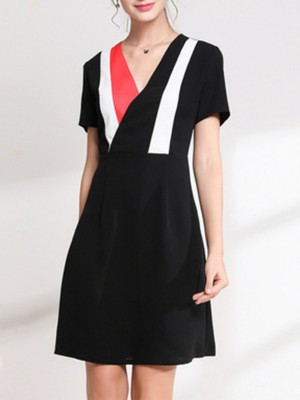 Surplice Neck A-Line Daily Casual Color-Block Midi Dress