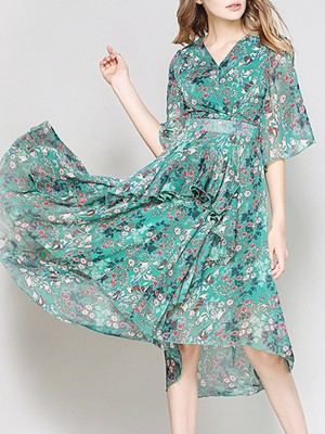 V Neck Floral Printed Swing Paneled Tiered Floral Midi Dress