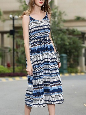 V Neck Blue A-Line Checkered/plaid Midi Dress