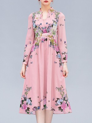 Stand Collar Pink A-Line Daytime Casual Floral Midi Dress