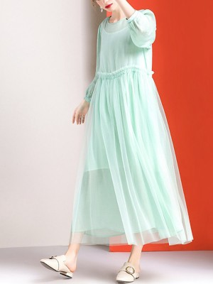 Green Sweet A-Line Balloon Sleeve Beach Solid Maxi Dress