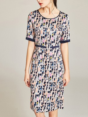 Summer A-Line Printed Elegant Work Dress