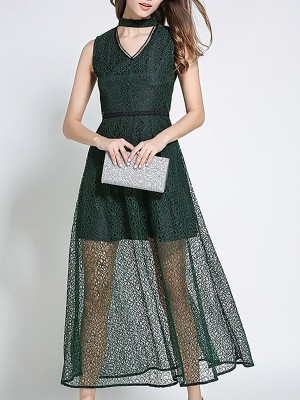 V Neck Sheath Party Guipure Lace Elegant Maxi Dress