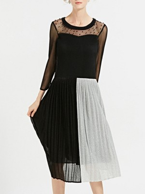 Beaded See-Through Look Swing Daily Solid Midi Dress