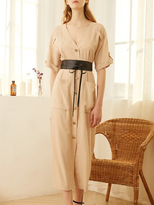 V Neck Apricot Chiffon A-Line Daytime Pockets Buttoned Maxi Dress