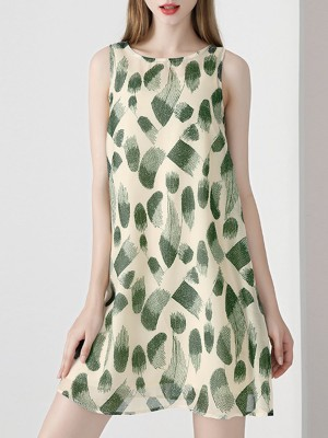 Green Sleeveless Shift Daily Casual Printed Mini Dress