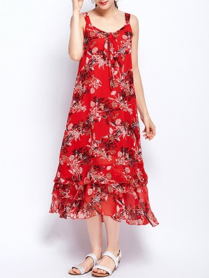 Spaghetti Red Swing Holiday Casual Floral-Print Midi Dress