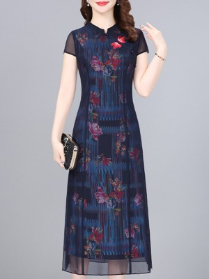 Stand Collar Dark Blue Sheath Daily Elegant Paneled Maxi Dress