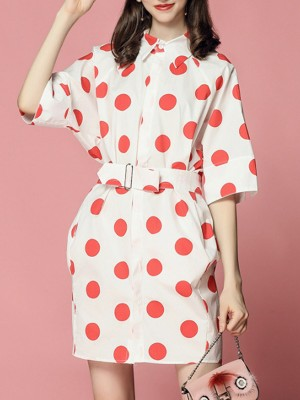 Shirt Collar Daytime Polka Dots Casual Mini Dress