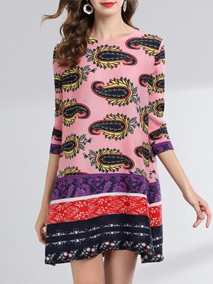 Pink Crew Neck Abstract Shift Casual Printed Mini Dress
