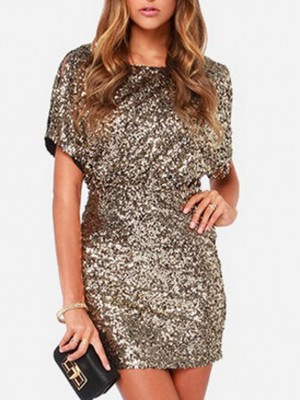 Sequins Cutout Sheath Party Sexy Solid Mini Dress