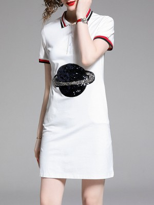 Summer Solid Shirt Collar Sheath Daily Patch Casual Mini Dress