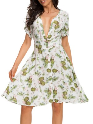 Sexy Deep V-Neck Floral-print Holiday Midi Dress