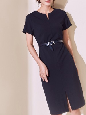V Neck Navy Blue Slit Sheath Daily Work Midi Dress