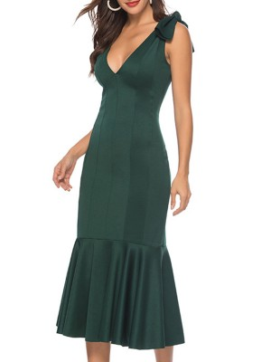 Sexy Plunging Neck Sleeveless Green Solid Sheath Party Midi Dress