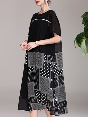 Crew Neck Black Polka Dots Daily Casual Paneled Swing Midi Dress
