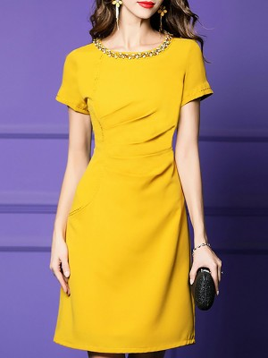 Yellow Crew Neck Elegant Sheath Party Beaded Midi Dress